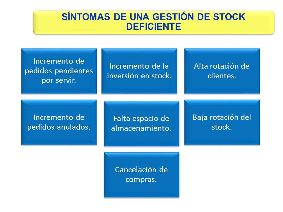 SÍNTOMAS DE UNA GESTIÓN DE STOCK DEFICIENTE