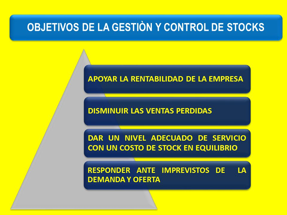 OBJETIVOS DE LA GESTIÒN Y CONTROL DE STOCKS