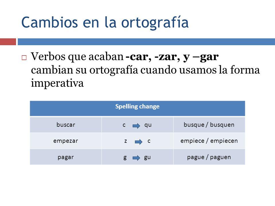 Cambios en la ortografía