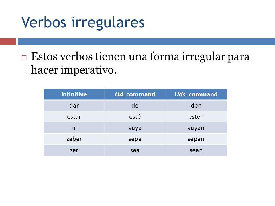 Verbos irregulares Estos verbos tienen una forma irregular para hacer imperativo. Infinitive. Ud. command.