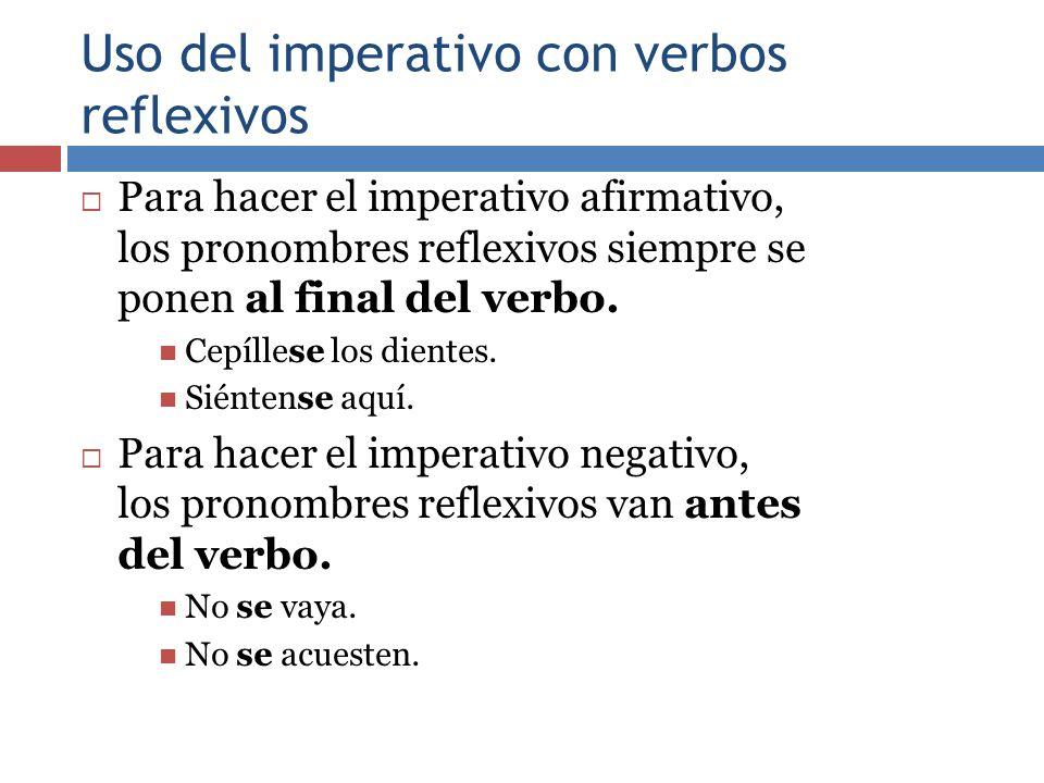 Uso del imperativo con verbos reflexivos