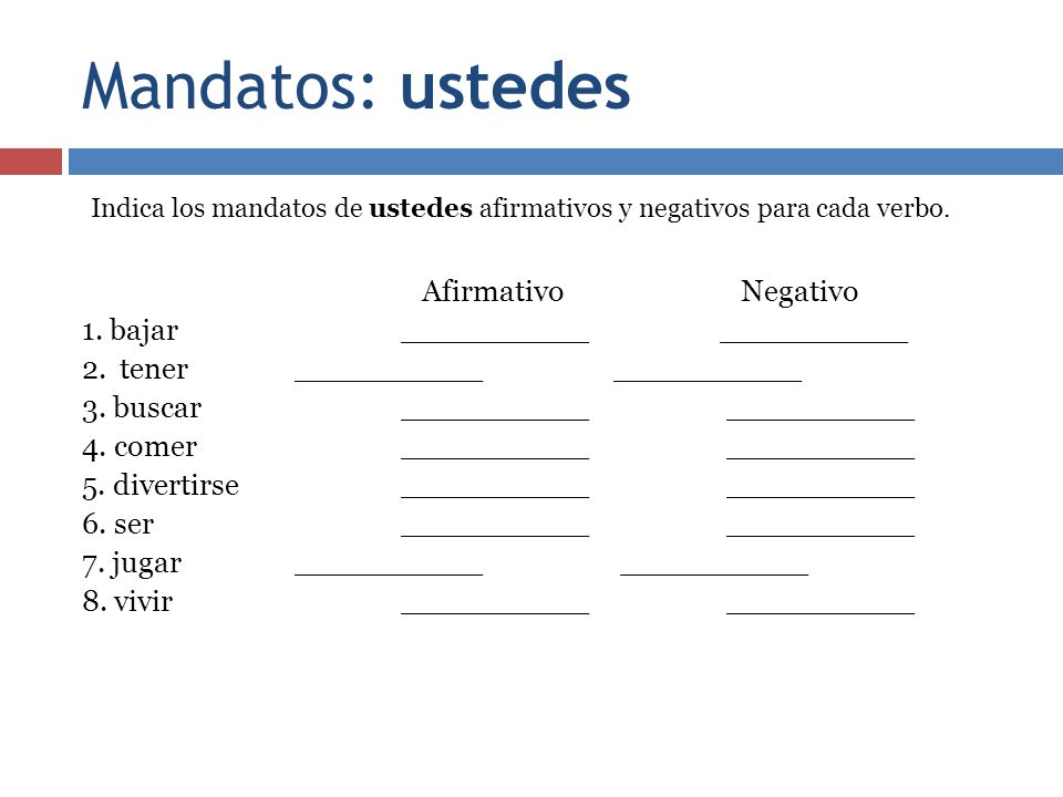 Mandatos: ustedes Indica los mandatos de ustedes afirmativos y negativos para cada verbo.