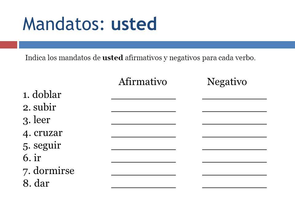 Mandatos: usted Indica los mandatos de usted afirmativos y negativos para cada verbo.