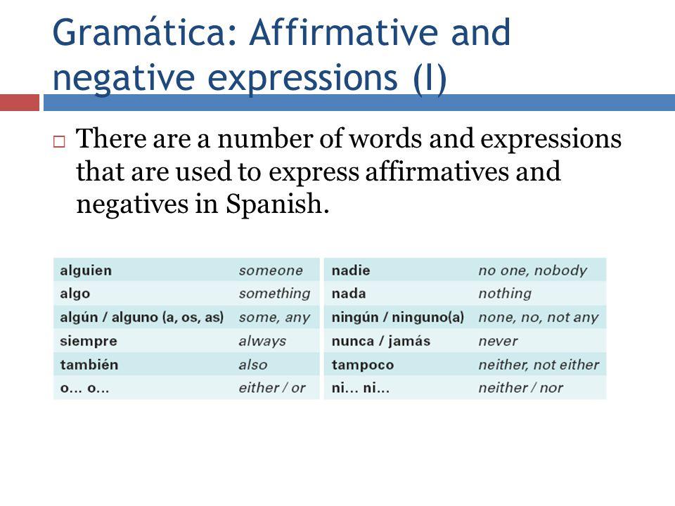 Gramática: Affirmative and negative expressions (I)
