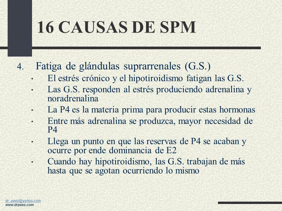 16 CAUSAS DE SPM Fatiga de glándulas suprarrenales (G.S.)