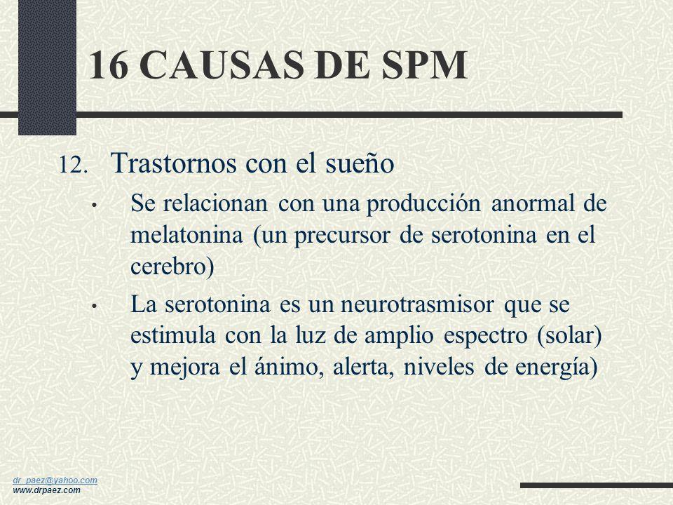 16 CAUSAS DE SPM Trastornos con el sueño