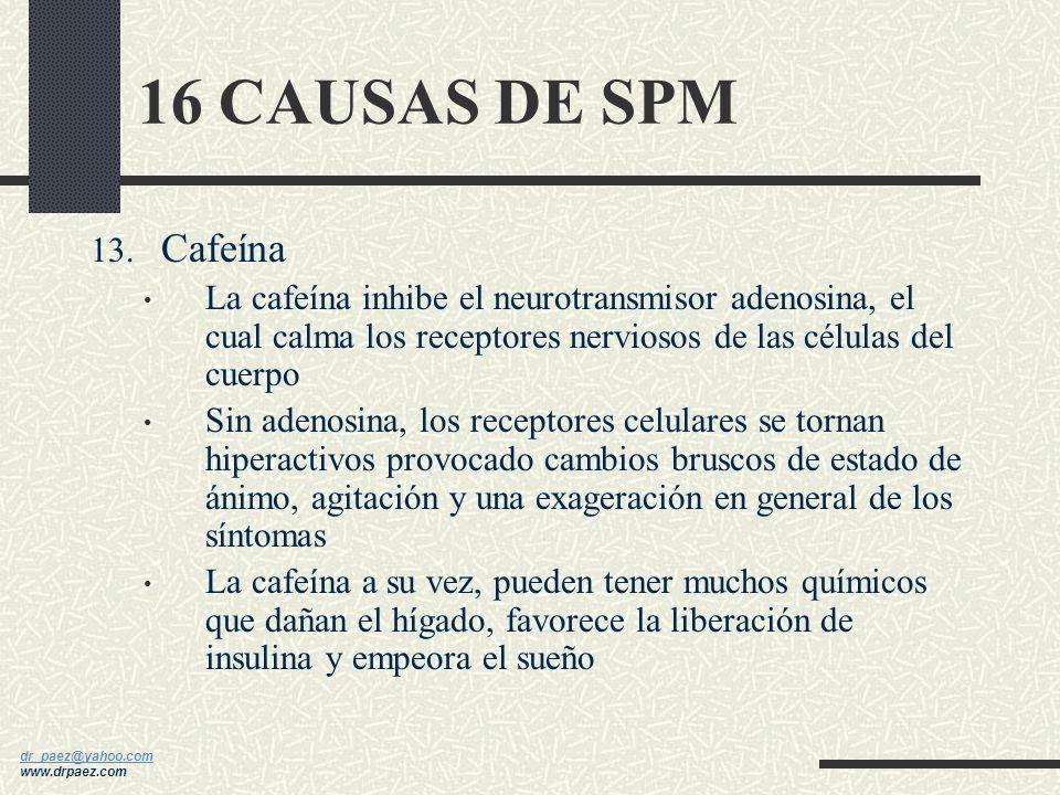 16 CAUSAS DE SPM Cafeína. La cafeína inhibe el neurotransmisor adenosina, el cual calma los receptores nerviosos de las células del cuerpo.