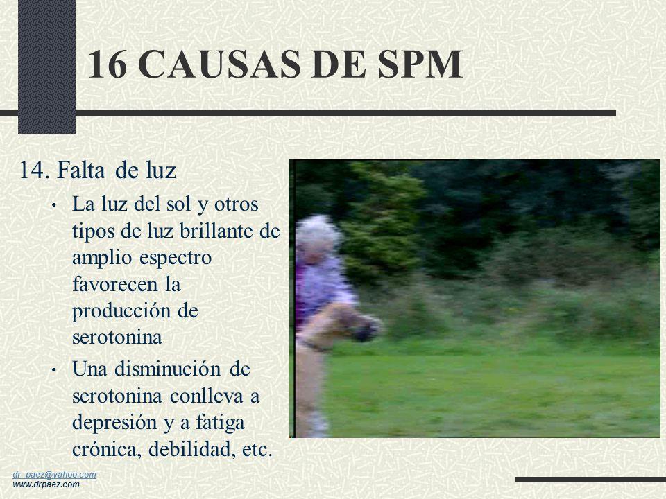16 CAUSAS DE SPM 14. Falta de luz