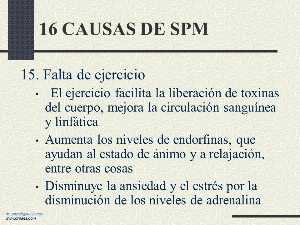 16 CAUSAS DE SPM 15. Falta de ejercicio
