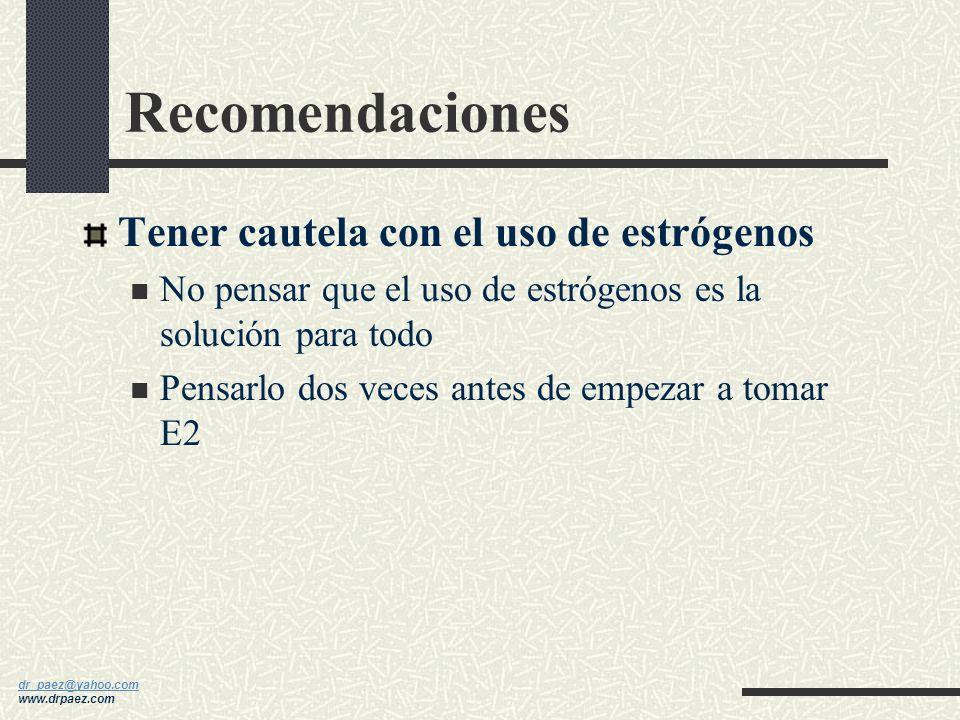 Recomendaciones Tener cautela con el uso de estrógenos