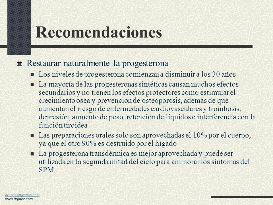 Recomendaciones Restaurar naturalmente la progesterona