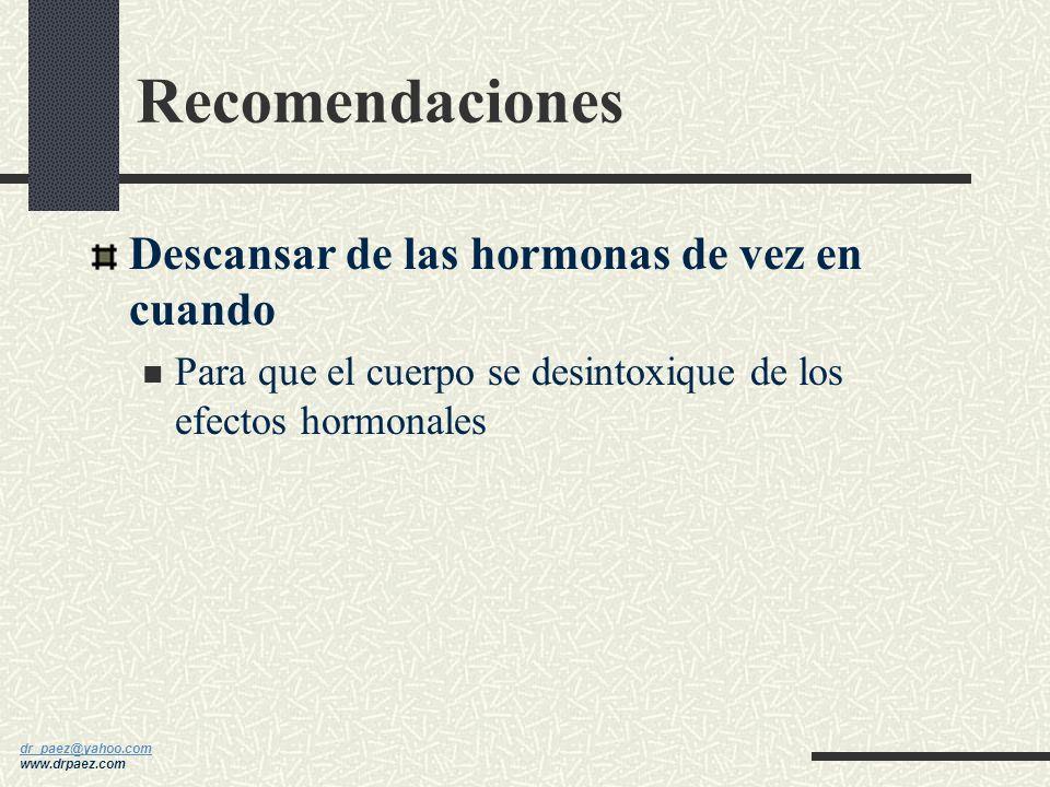 Recomendaciones Descansar de las hormonas de vez en cuando