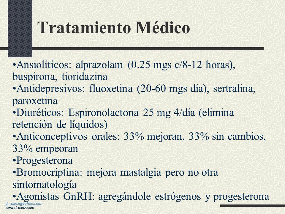 Tratamiento Médico Ansiolíticos: alprazolam (0.25 mgs c/8-12 horas), buspirona, tioridazina.