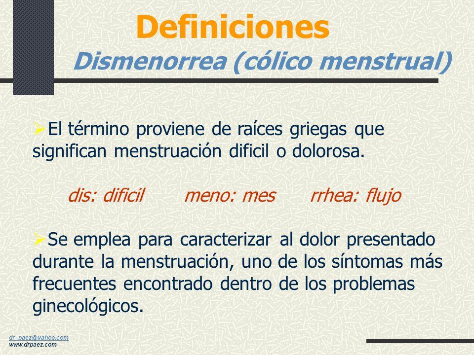 Definiciones Dismenorrea (cólico menstrual)