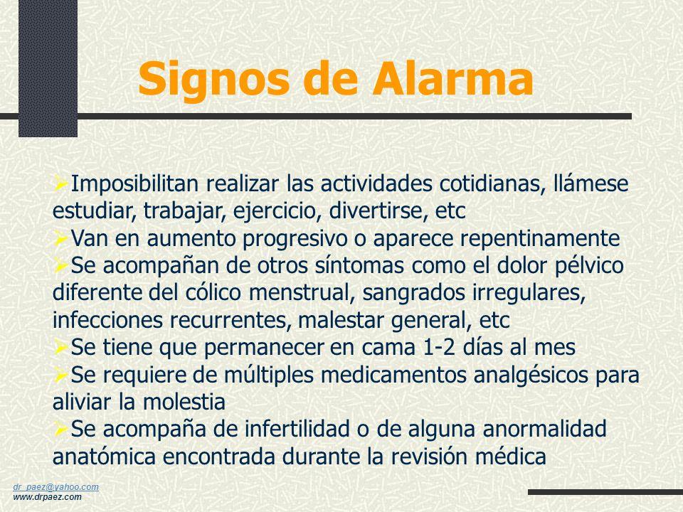 Signos de Alarma Imposibilitan realizar las actividades cotidianas, llámese estudiar, trabajar, ejercicio, divertirse, etc.