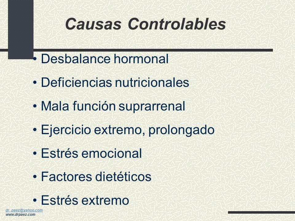 Causas Controlables Desbalance hormonal Deficiencias nutricionales