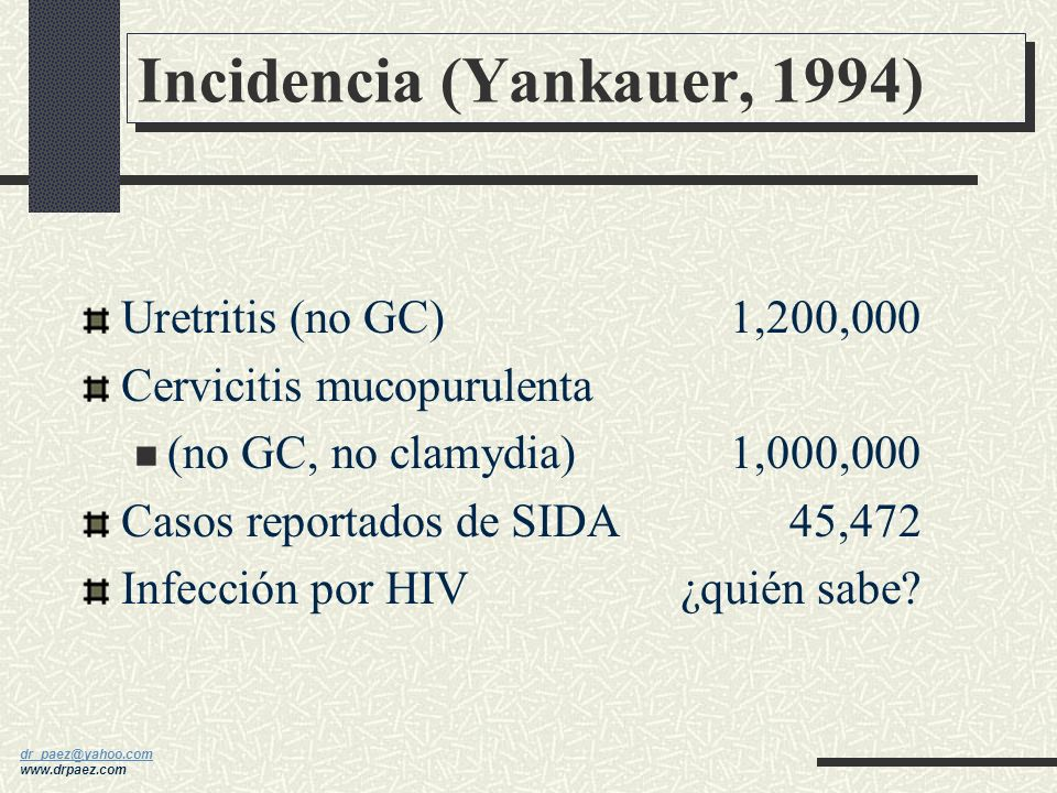 Incidencia (Yankauer, 1994)