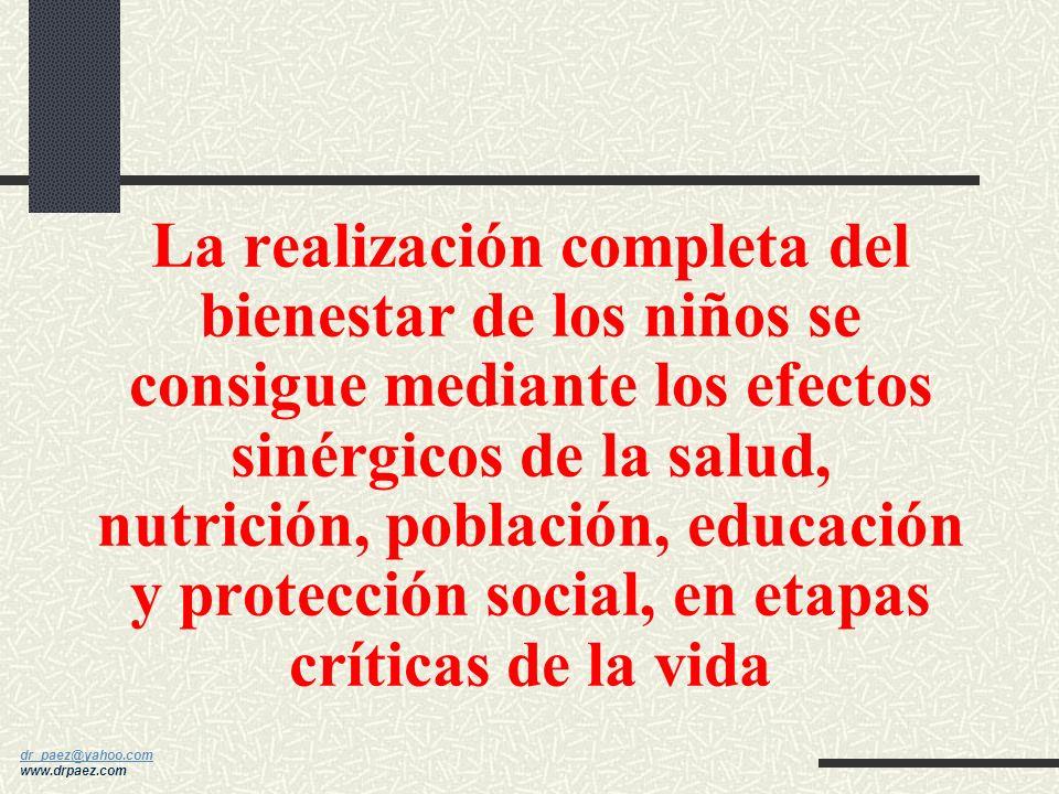 La realización completa del bienestar de los niños se consigue mediante los efectos sinérgicos de la salud, nutrición, población, educación y protección social, en etapas críticas de la vida