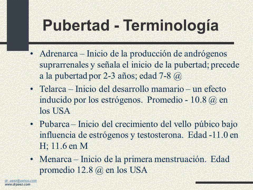 Pubertad - Terminología