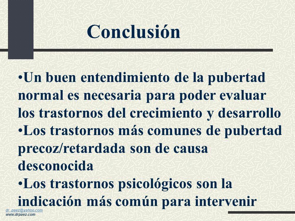 Conclusión Un buen entendimiento de la pubertad normal es necesaria para poder evaluar los trastornos del crecimiento y desarrollo.
