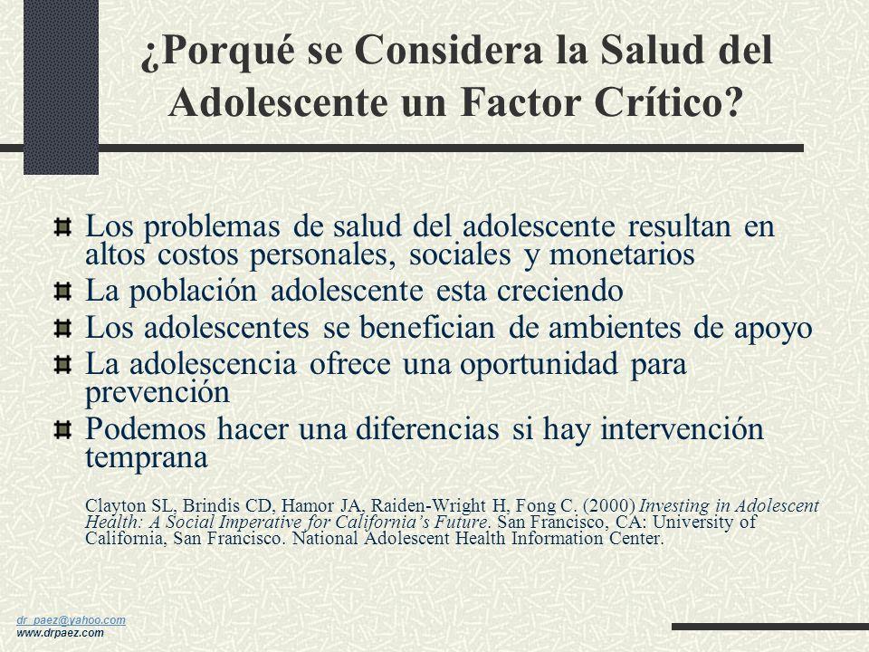 ¿Porqué se Considera la Salud del Adolescente un Factor Crítico