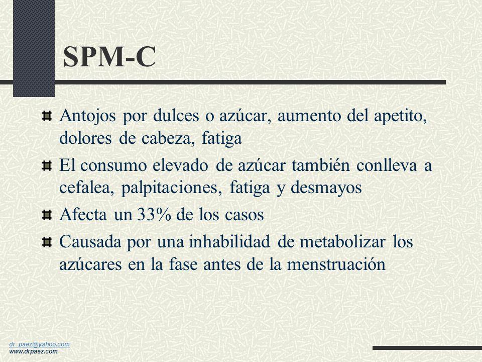 SPM-C Antojos por dulces o azúcar, aumento del apetito, dolores de cabeza, fatiga.