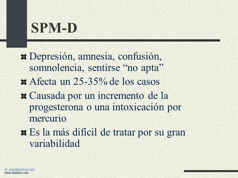 SPM-D Depresión, amnesia, confusión, somnolencia, sentirse no apta