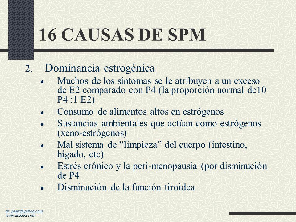16 CAUSAS DE SPM Dominancia estrogénica