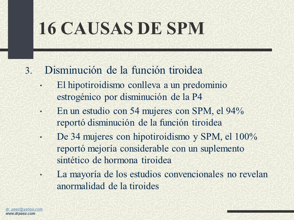 16 CAUSAS DE SPM Disminución de la función tiroidea