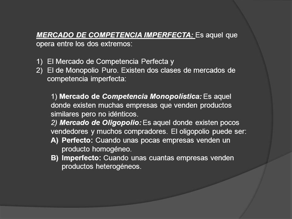MERCADO DE COMPETENCIA IMPERFECTA: Es aquel que opera entre los dos extremos: