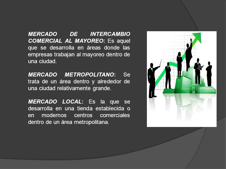 MERCADO DE INTERCAMBIO COMERCIAL AL MAYOREO: Es aquel que se desarrolla en áreas donde las empresas trabajan al mayoreo dentro de una ciudad.