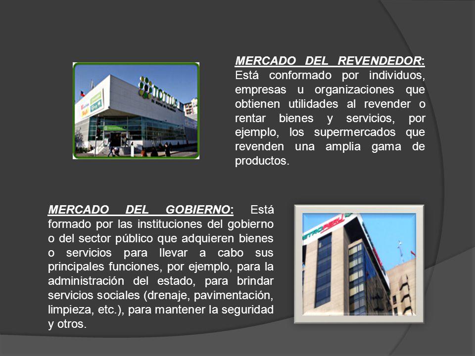 MERCADO DEL REVENDEDOR: Está conformado por individuos, empresas u organizaciones que obtienen utilidades al revender o rentar bienes y servicios, por ejemplo, los supermercados que revenden una amplia gama de productos.