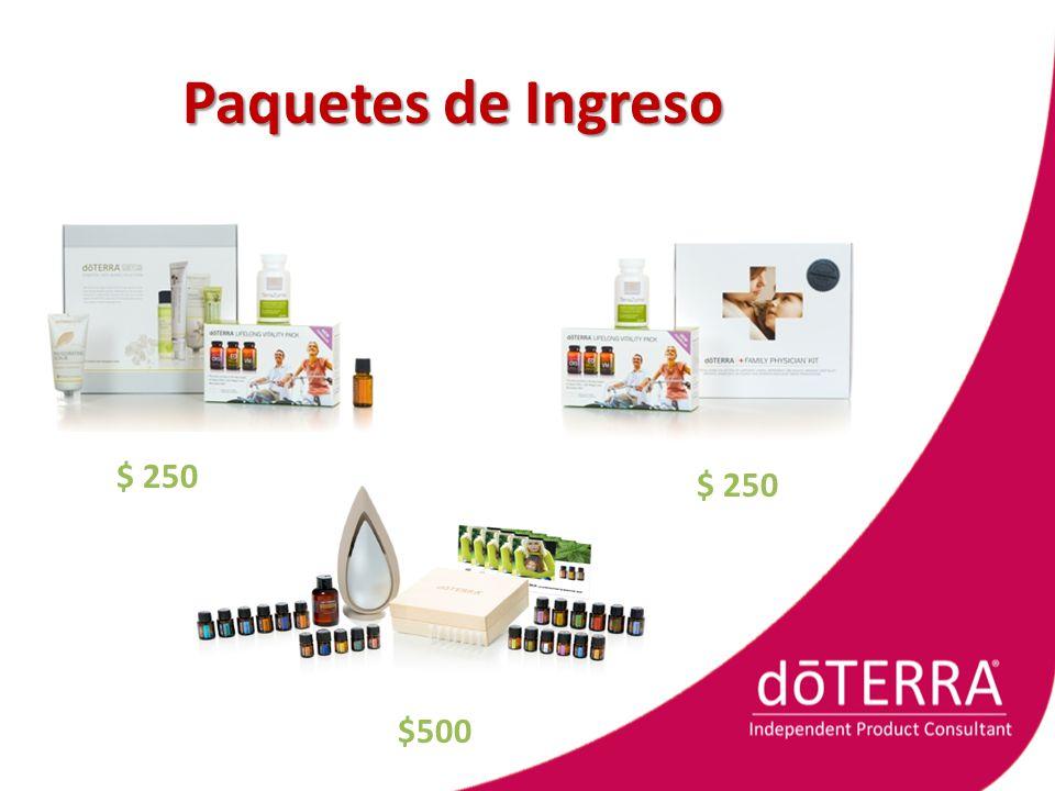 Paquetes de Ingreso $ 250 $ 250 $500