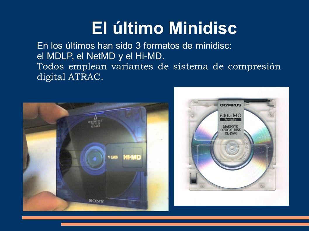 El último Minidisc En los últimos han sido 3 formatos de minidisc:
