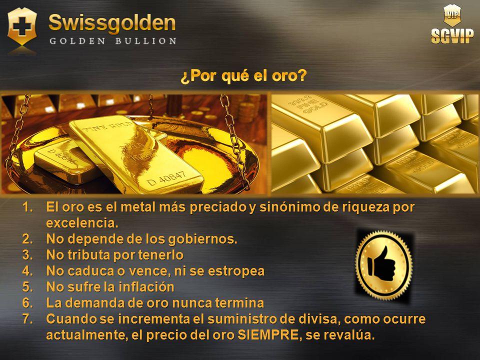 ¿Por qué el oro El oro es el metal más preciado y sinónimo de riqueza por excelencia. No depende de los gobiernos.