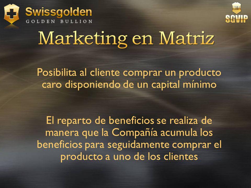 Marketing en Matriz Posibilita al cliente comprar un producto caro disponiendo de un capital mínimo.