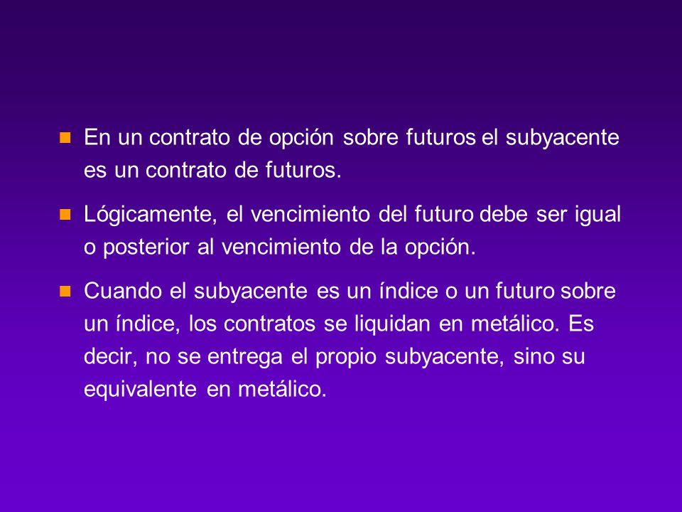 En un contrato de opción sobre futuros el subyacente es un contrato de futuros.