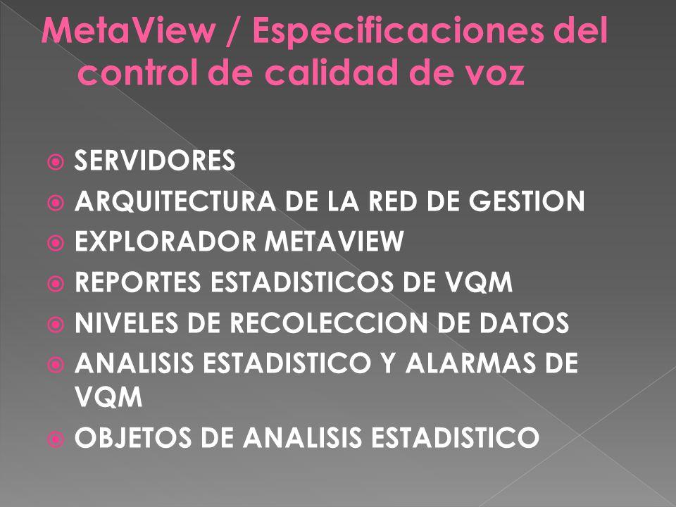 MetaView / Especificaciones del control de calidad de voz