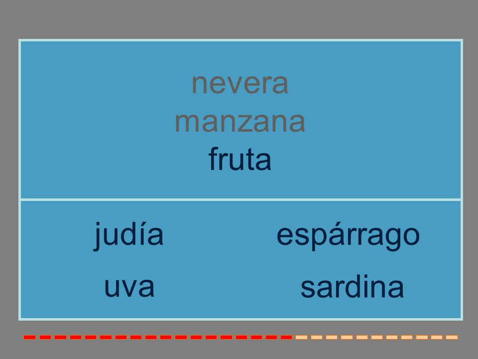 nevera manzana fruta judía espárrago uva sardina