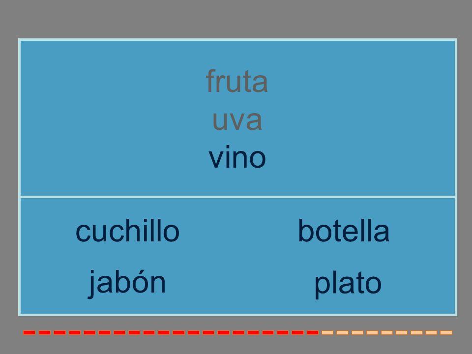 fruta uva vino cuchillo botella jabón plato