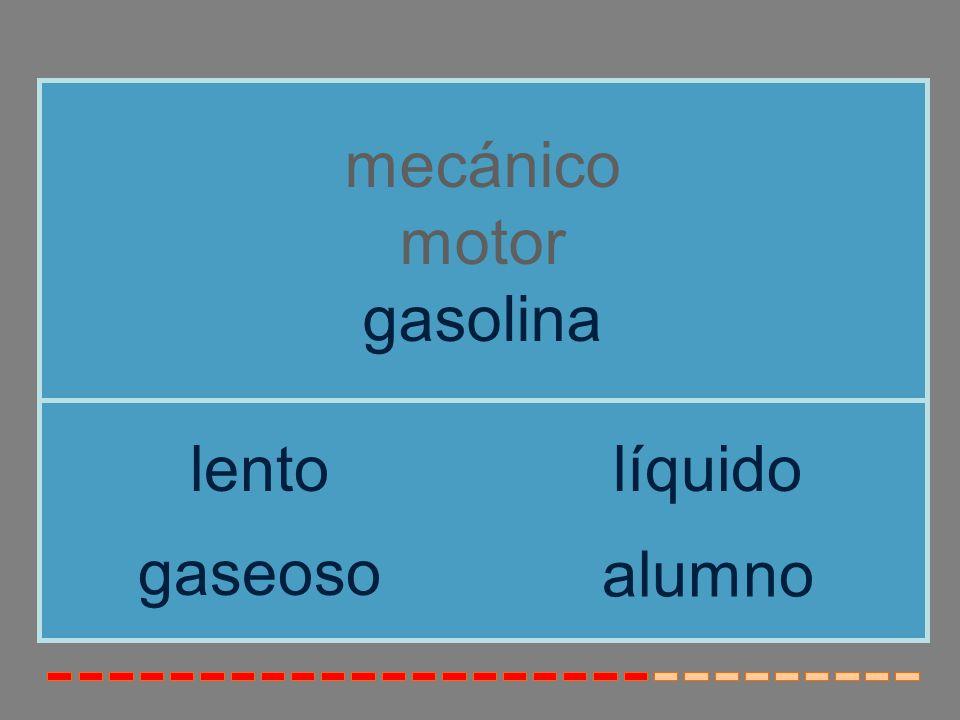 mecánico motor gasolina lento líquido gaseoso alumno