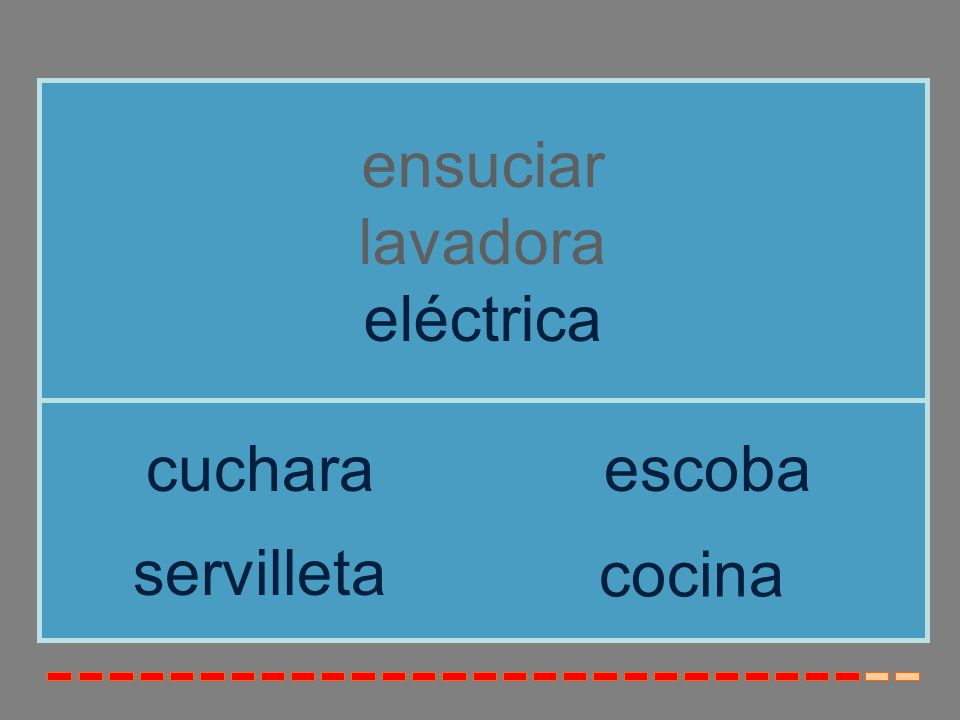 ensuciar lavadora eléctrica cuchara escoba servilleta cocina