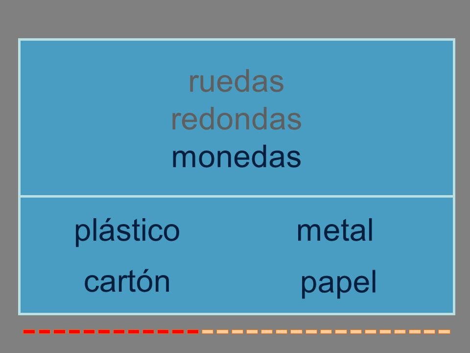 ruedas redondas monedas plástico metal cartón papel