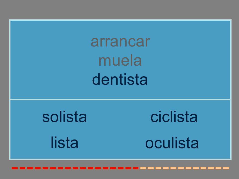 arrancar muela dentista solista ciclista lista oculista