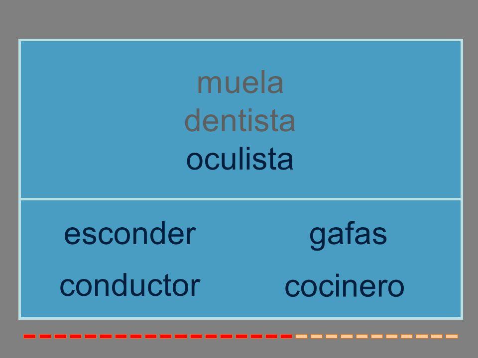 muela dentista oculista esconder gafas conductor cocinero