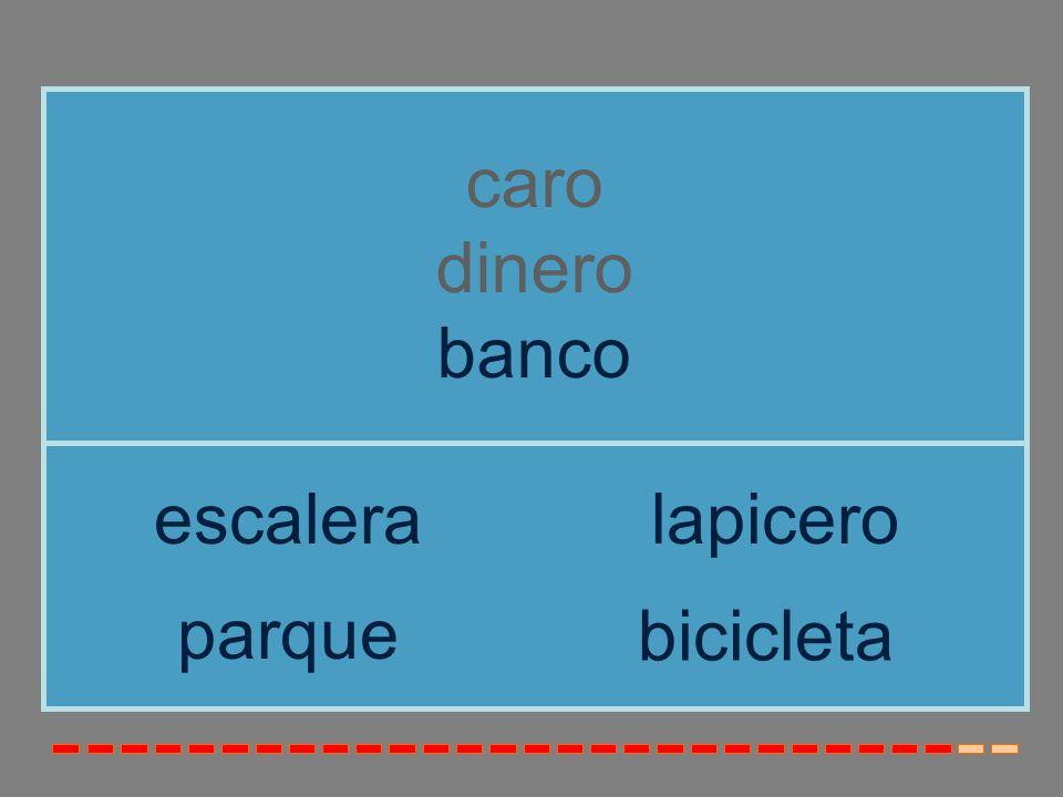 caro dinero banco escalera lapicero parque bicicleta