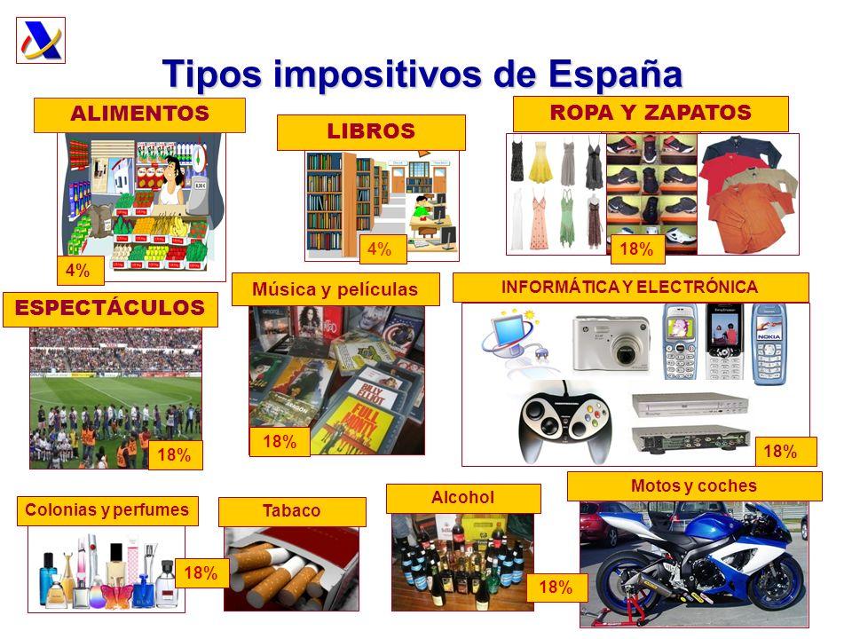 Tipos impositivos de España INFORMÁTICA Y ELECTRÓNICA