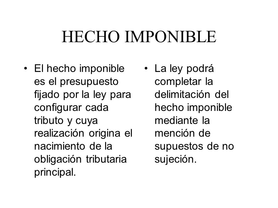 HECHO IMPONIBLE