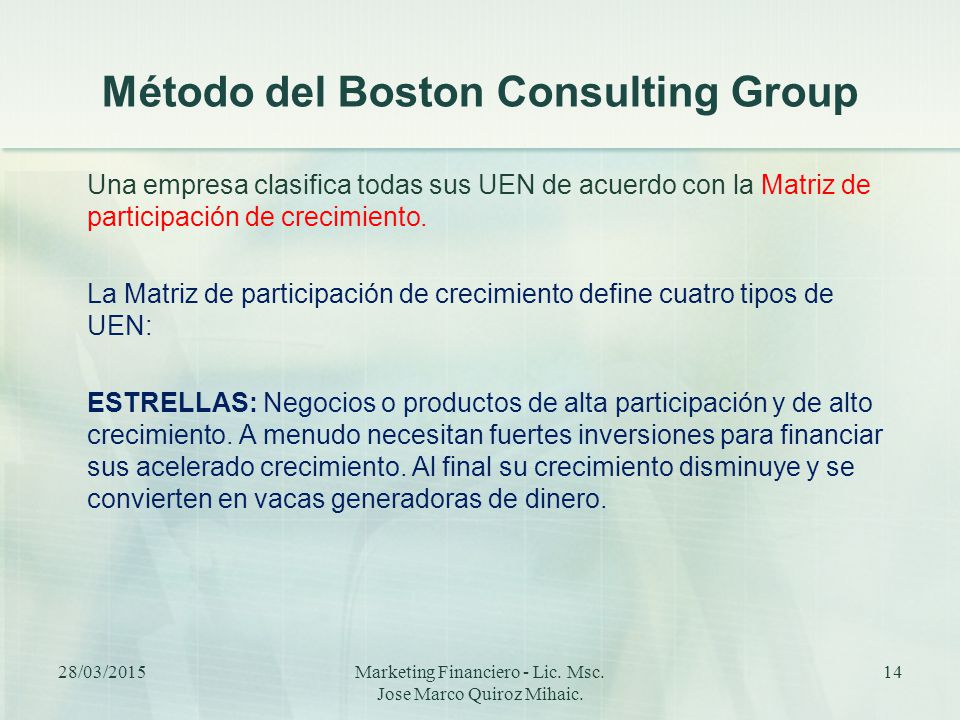 Método del Boston Consulting Group