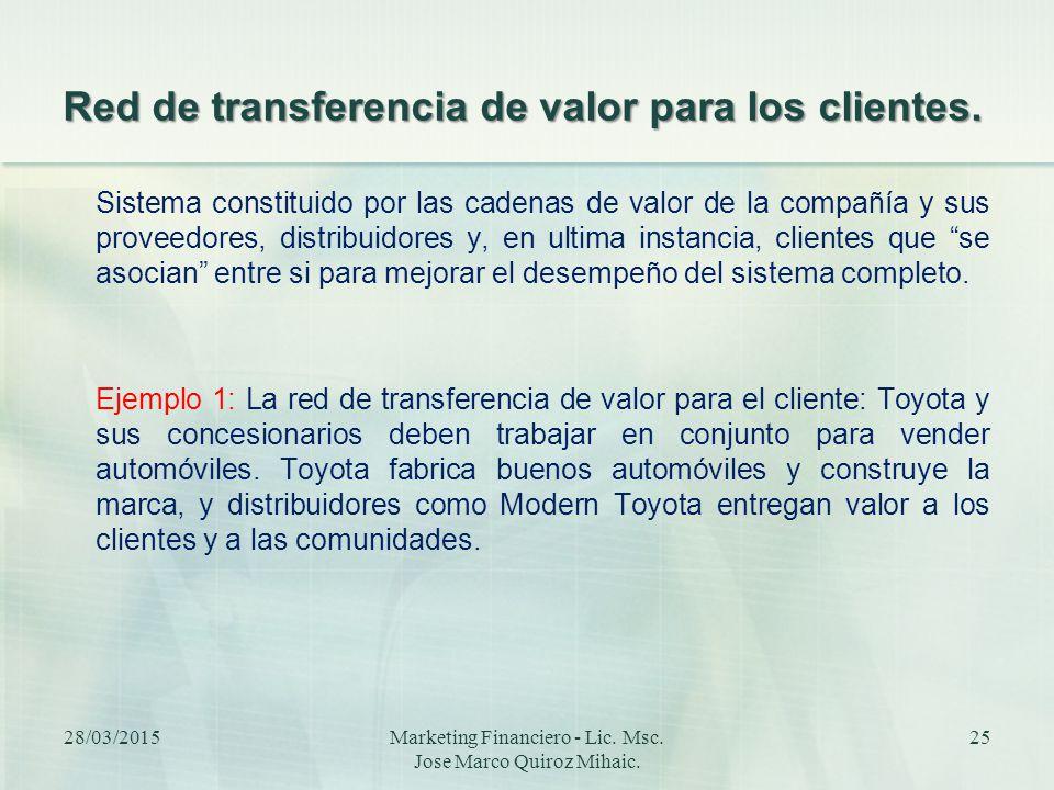 Red de transferencia de valor para los clientes.